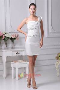 one shoulder short semi formal dress ivory one shoulder With robe mariage civil courte