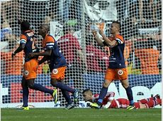 Montpellier's players celebrate after scoring during the