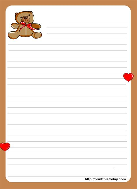 teddy bear writing paper  kids