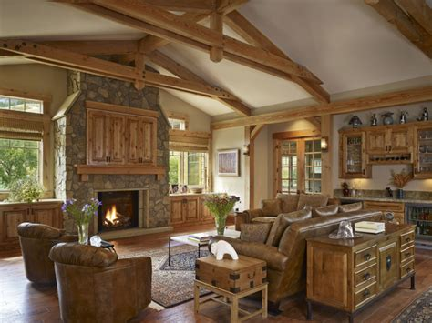 gamble residence rustic living room denver  mq