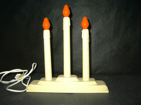 vintage 3 electric candle candelabra lights window