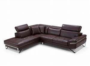 Modern brown leather sectional sofa ef194 leather sectionals for Leather sectional sofas