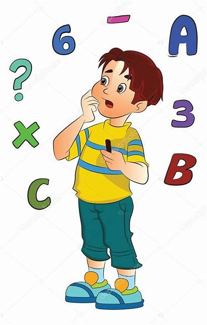 Math Problem Solving Clipart Student Boy Studying