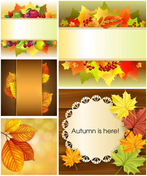 leaf name card template fall frames templates vector vector graphics
