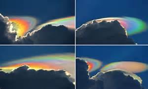 rainbow cloud rare fire spectacular above clouds light nature florida bridge captures puts photographer mother mail