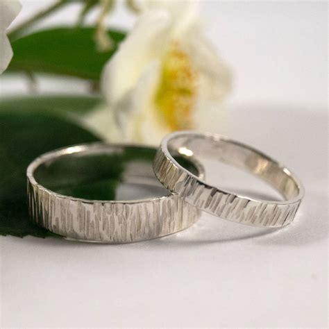 bark effect wedding bands  sterling silver  fragment