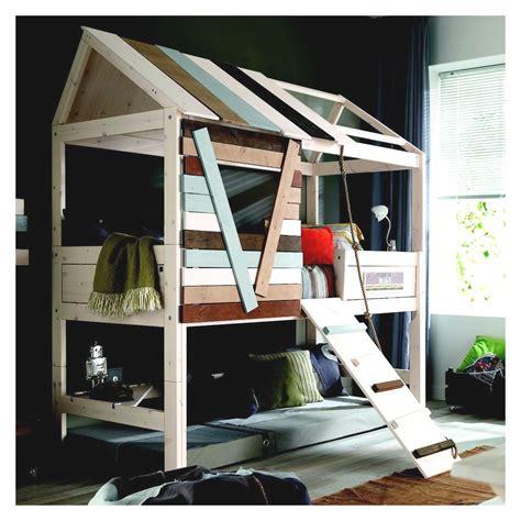 chambre bébé en bois massif lit cabane garçon 90x200 à plan incliné