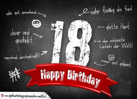 was schenkt zum 18 geburtstag komplimente geburtstagskarte zum 18 geburtstag happy birthday geburtstagsspr 252 che welt