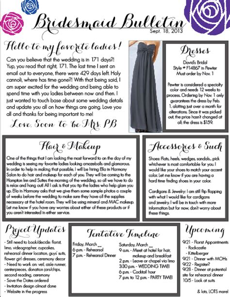 bridesmaid newsletter template jotting