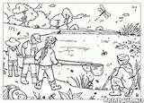 Coloring Summer Seasons Lake Children sketch template