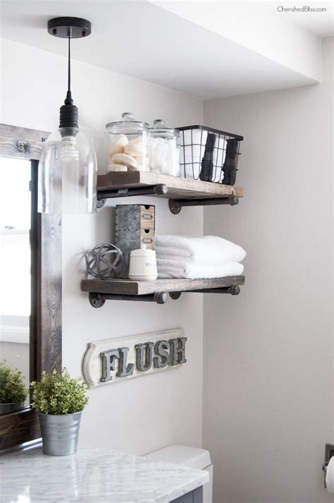 Diy Industrial Bathroom Mirror by How To Build Diy Industrial Pipe Shelves Cherished Bliss