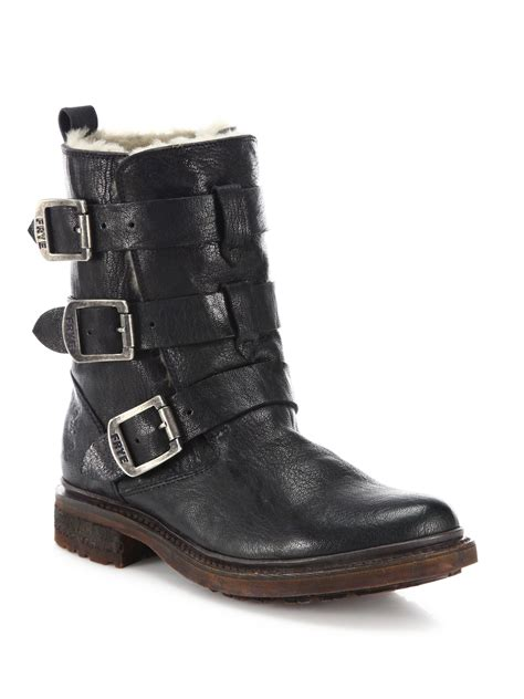 womens black leather moto boots frye valerie leather shearling strappy moto boots in