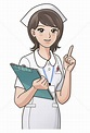 Cute nurse pointing the index finger up, guiding ...