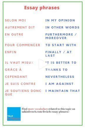 30 Useful French Essay Phrases in 2020 | Basic french ...