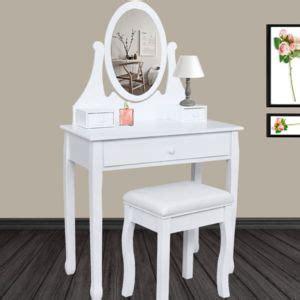 idmarket coiffeuse table de maquillage en bois avec miroir et tabouret pas cher achat