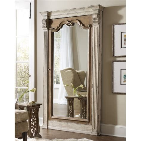 floor mirror with jewelry storage hooker furniture chatelet floor mirror with jewelry storage in white 5351 50003