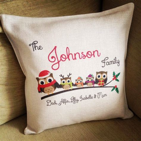 personalised cusion personalised family owls cushion