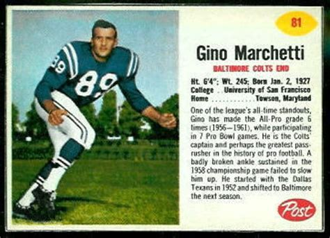 Gino Marchetti - 1962 Post Cereal #81 - Vintage Football ...