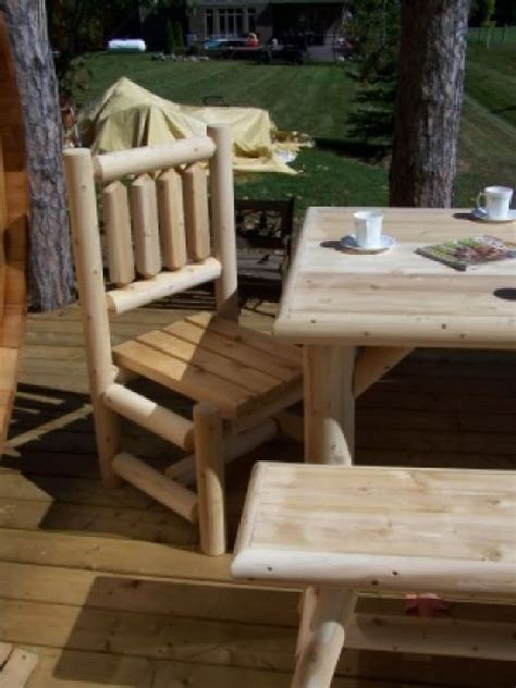 outdoor log dining side chair log furniture