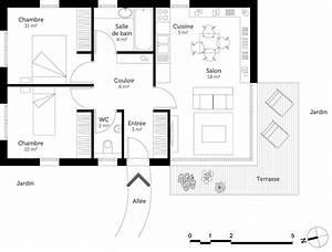 Plan Pour Maison : plan maison plain pied 60 m ooreka ~ Melissatoandfro.com Idées de Décoration