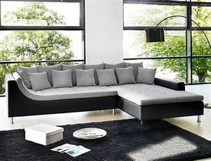 Couchbezug Für Eckcouch : eckcouch madeleine 326x213 cm hellgrau schwarz wohnlandschaft sofa wohnbereiche wohnzimmer sofa ~ Indierocktalk.com Haus und Dekorationen