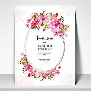 Pink flowers decorated invitation card design vector for Wedding invitation designs fuchsia pink