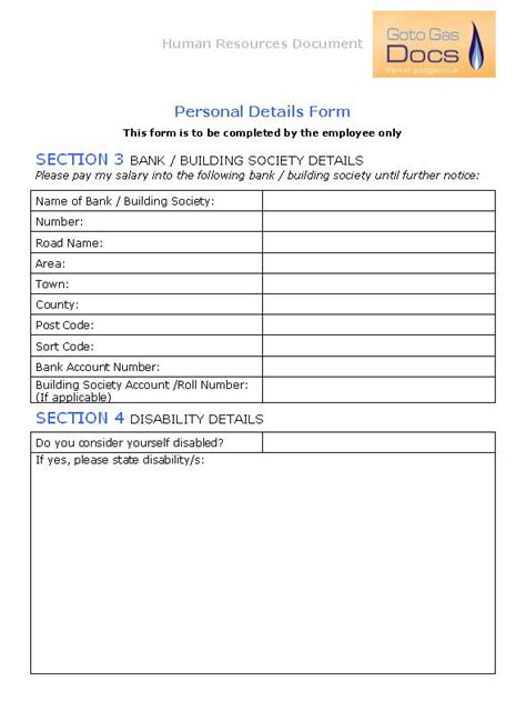 Next Of Kin Form Template by Next Of Kin Form Template Uk Gas Forms Personal Details