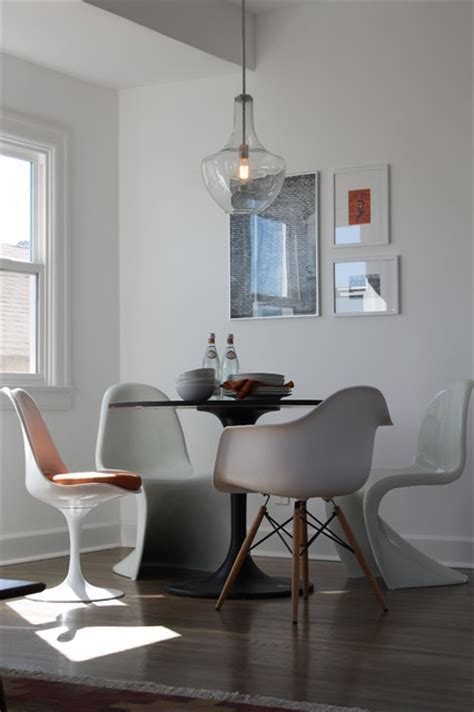 Panton, Saarinen and Eames Chairs with Saarinen Table and