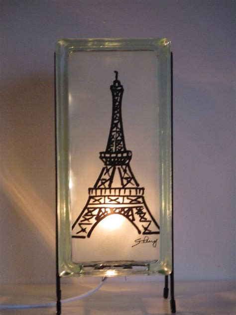 eiffel tower lamp handcrafted eco friendly rare size glass