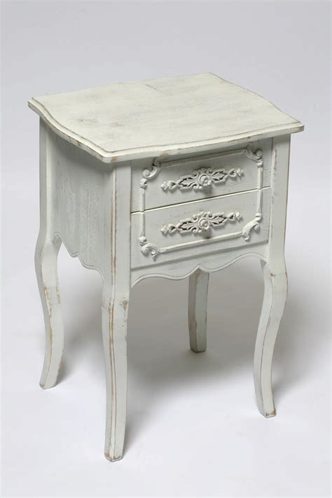 Old Small Bedside Nightstand Table With Drawer Painted With White Chalk Paint Color Decoration Ideas