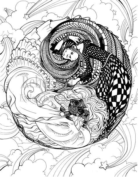 Ying Yang Design Coloring Pages | Pin Dragons Eye Fairy