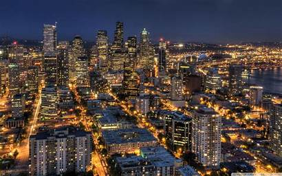 Seattle Skyline Night Needle Space Hdr Wide
