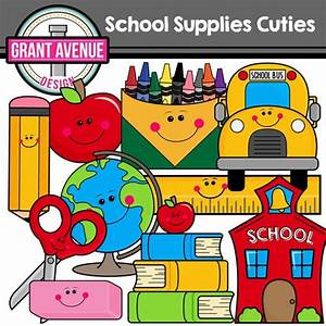 Grant Avenue Design - Cute School Supplies Clipart