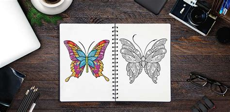 adult butterfly coloring pages  android ios