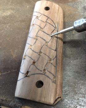 custom dremel carved basket weave wood handgun