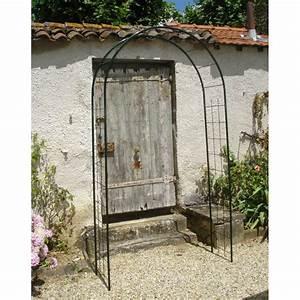 Arche De Jardin En Fer Forgé : l 39 arche de jardin double treillage en acier de jardin et ~ Premium-room.com Idées de Décoration