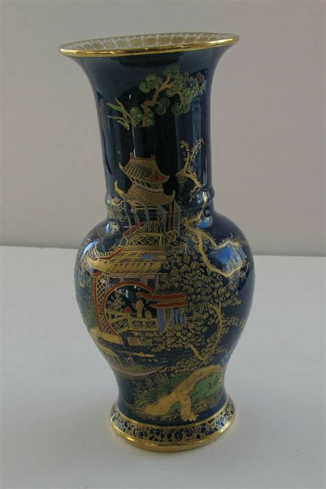 Carlton Ware Vase by Carlton Ware Vase Large Temple Pattern Blue And Gold 8 1 2