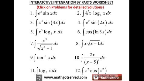 integration by parts worksheet integration by parts interactive worksheet youtube