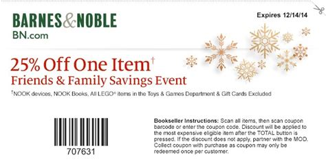 Barnes And Noble 25 by Barnes Noble 25 Any Item Coupon