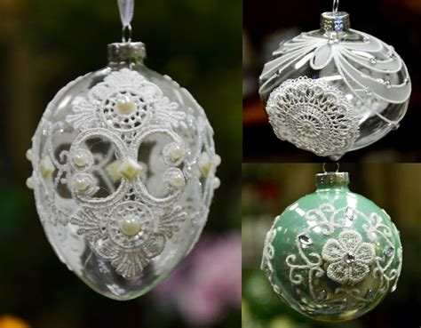 christmas tree ornament glass ball with laces bauble