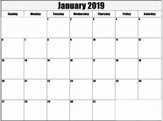 January Blank Calendar 2019 Printable Template Free