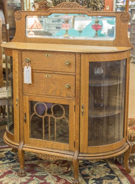 Antique Curio Cabinet With Curved Glass Whats It Worth