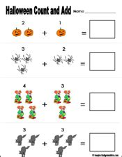preschool  kindergarten halloween math worksheets