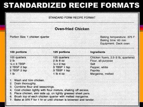 standard recipe form memo heading