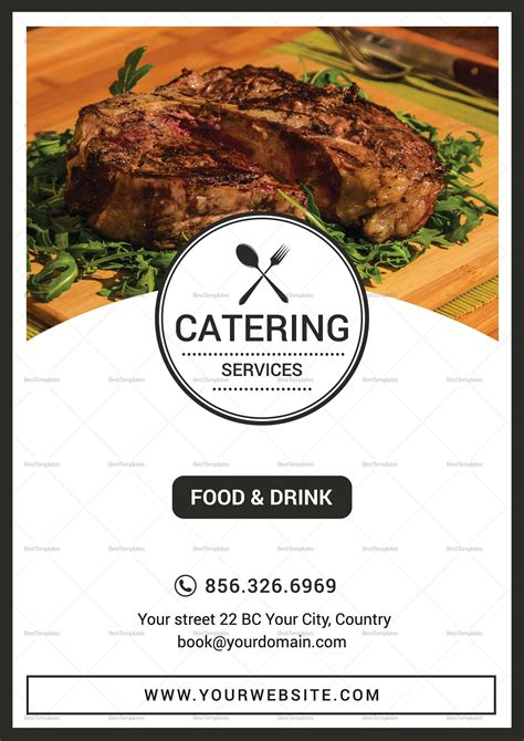 catering services menu design template  psd publisher word