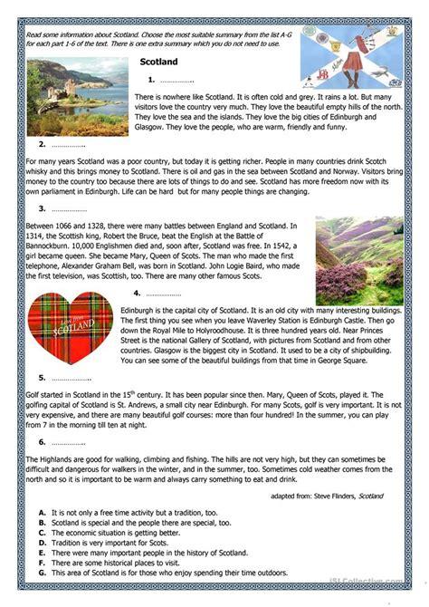 scotland factfile worksheet free esl printable