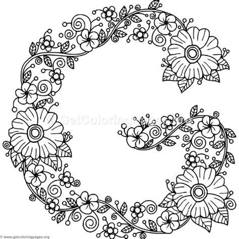 Letter G Coloring Page Floral Alphabet Letter G Coloring Pages Getcoloringpages Org