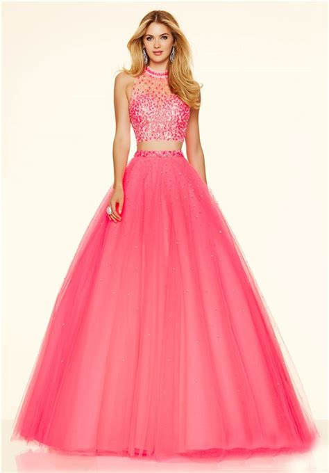 fashion ball gown high neck  piece hot pink tulle