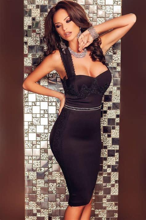 women sexy lace short black pencil skirt dress