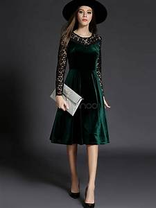 women39s skater dress velvet lace long sleeve two tone slim With robe velours vert
